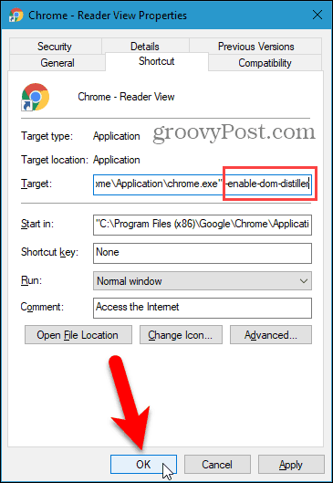 Change the Target for the Chrome shortcut