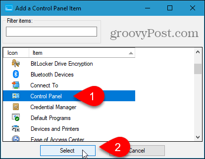 Add a Control Panel Item dialog box in Win+X Menu Editor