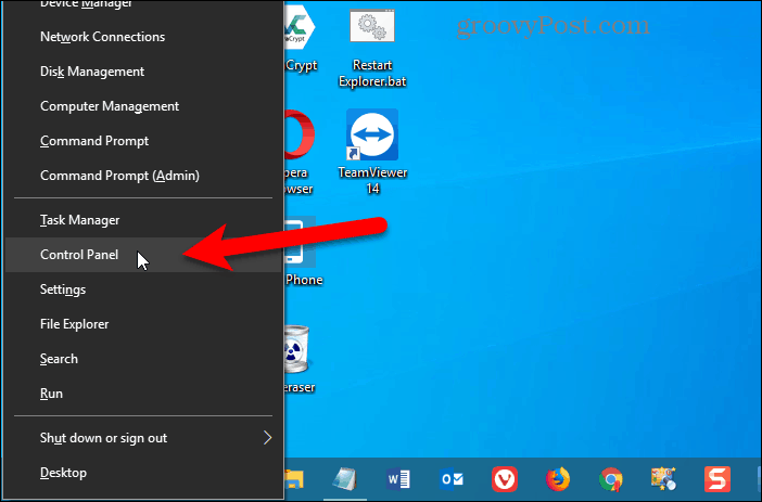 Control Panel added to Win+X menu in Windows 10