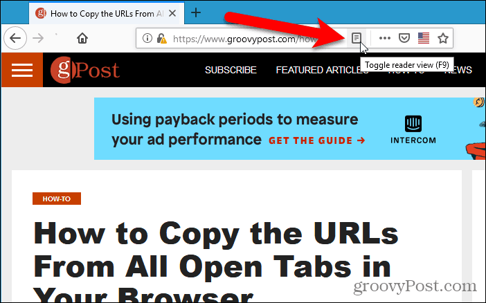 Toggle reader view in Firefox