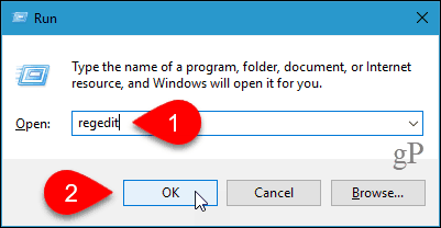 Open the Registry Editor in Windows 10