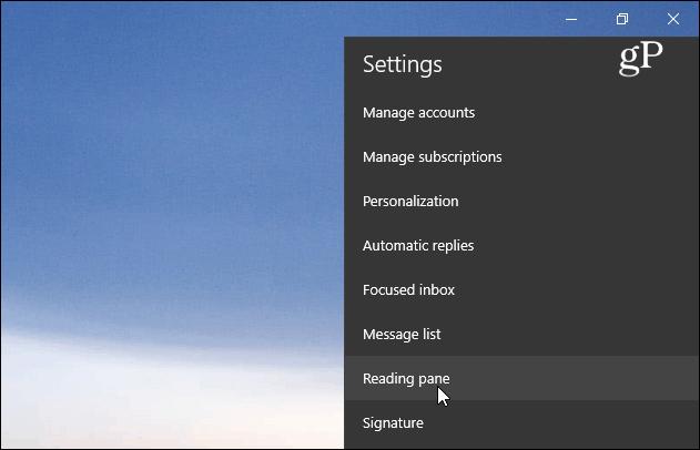 Reading Pane Settings Windows 10 Mail