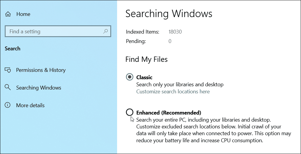How to Enable Enhanced Search Mode on Windows 10