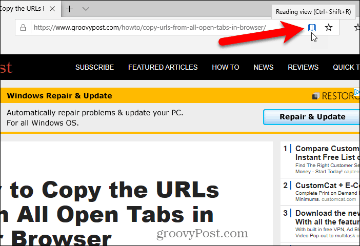 Click Reading view in Edge