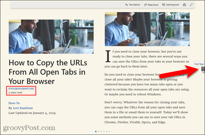 Book format in Reading view in Edge