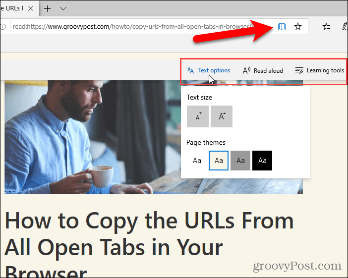 Floating toolbar in Reading view in Edge