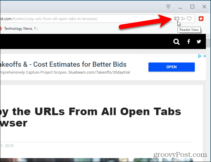 Click Reader View extension button in Opera