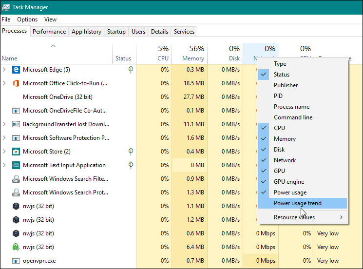 Add Power Monitor Column Windows 10 1809