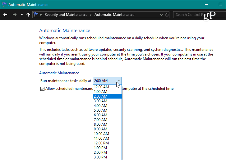 Set Automatic Maintenance Time Windows 10
