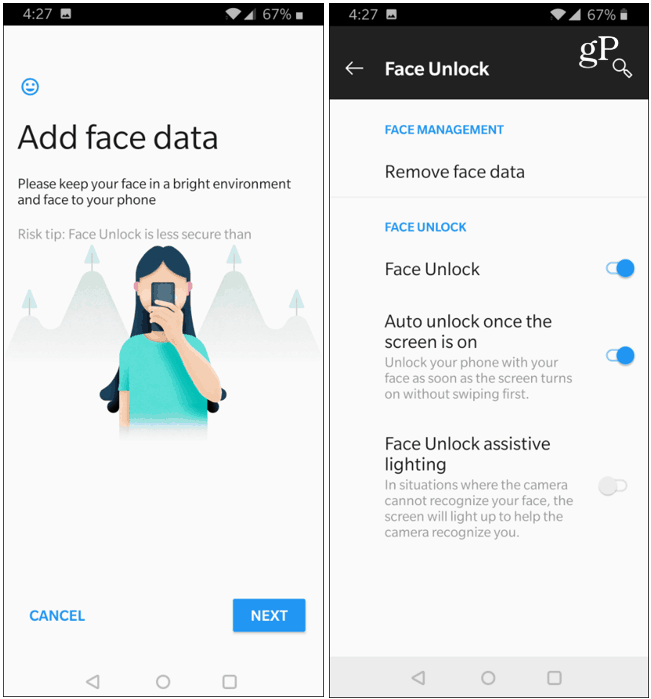 Face Unlock Data OnePlus 6T