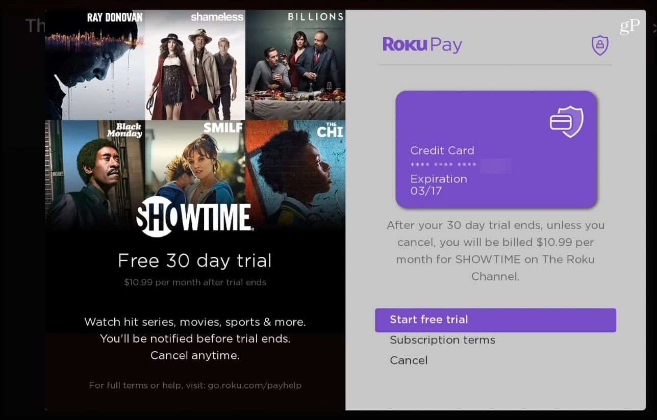 Premium Channel Roku Pay
