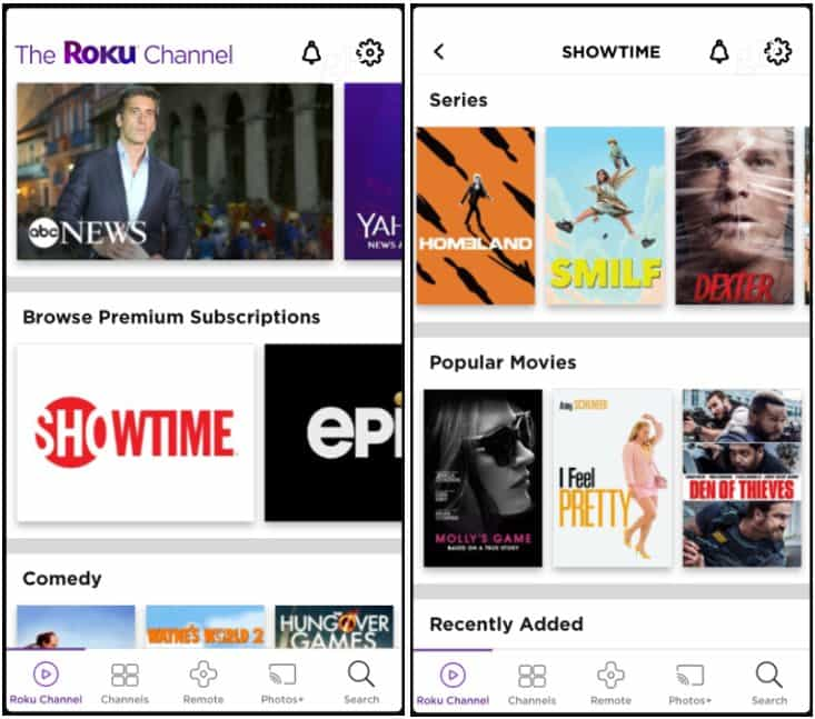 Premium Channels Roku Channel App iOS