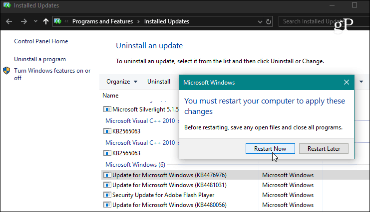 How to Uninstall a Windows 10 Cumulative Update