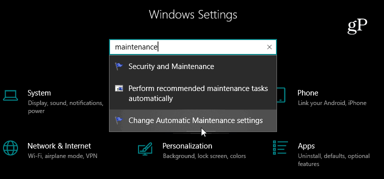 Search Settings App Windows 10