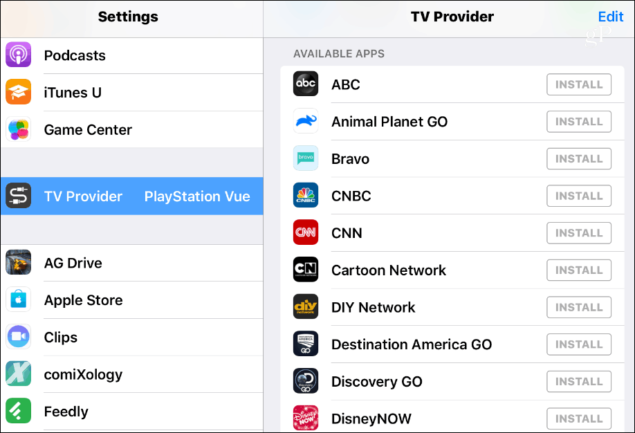 TV Provider iOS Available Apps