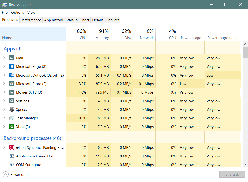 Task Manager Windows 10 1809 App Power Usage