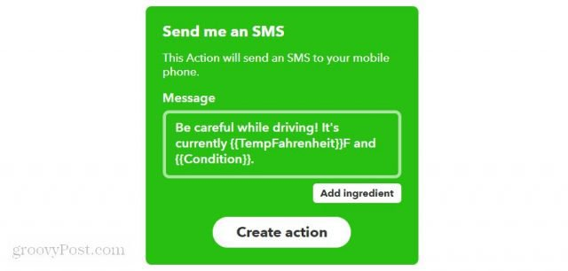 configuring an sms message on ifttt