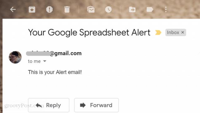 google scripts email alert