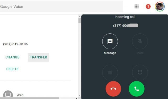 incoming google voice call