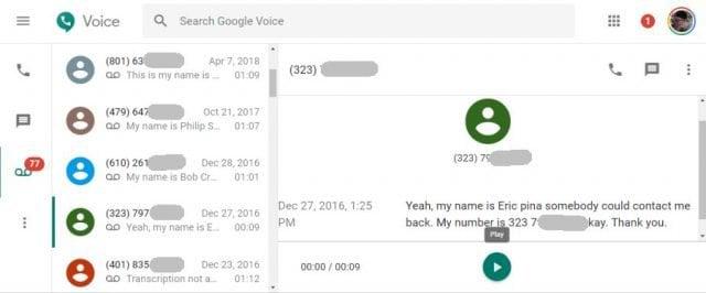 google voice voicemails