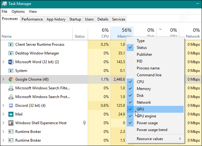 Add GPU Column Task Manager