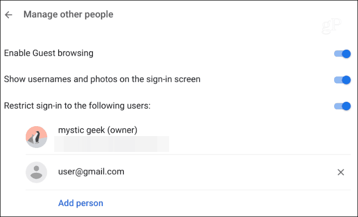 Restrict Chromebook Sign in