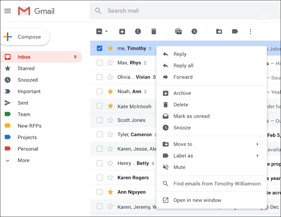 Gmail Right Click Context Menu