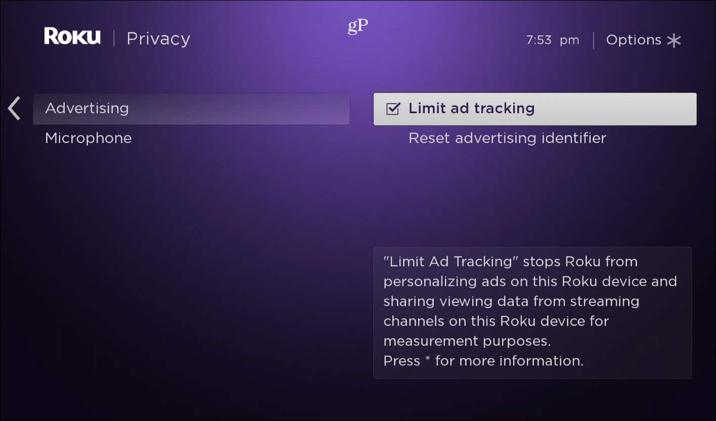 Limit Ad Tracking Roku