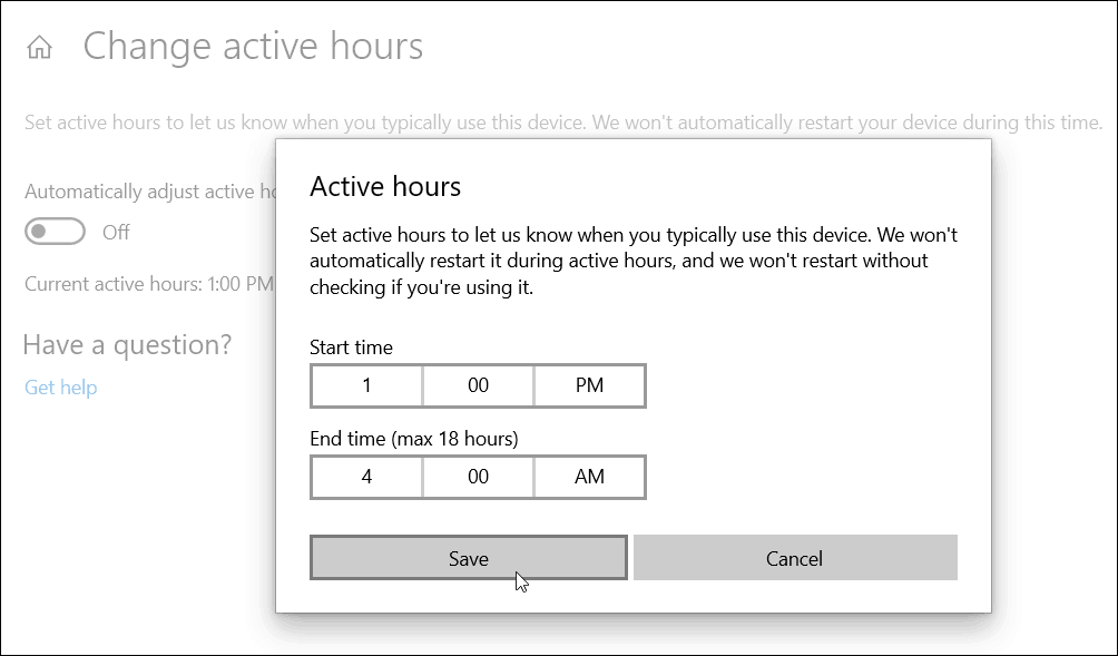 Manually set Active Hours