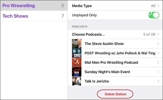 delete podcast station