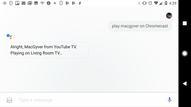 screenshot of playing shows or movies with Google Assistant