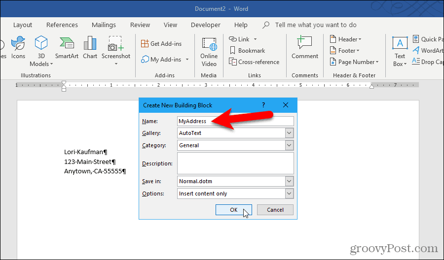 Create New Building Block dialog box