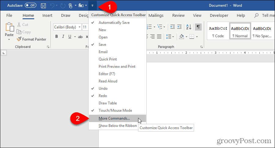 Select More Commands on Quick Access Toolbar