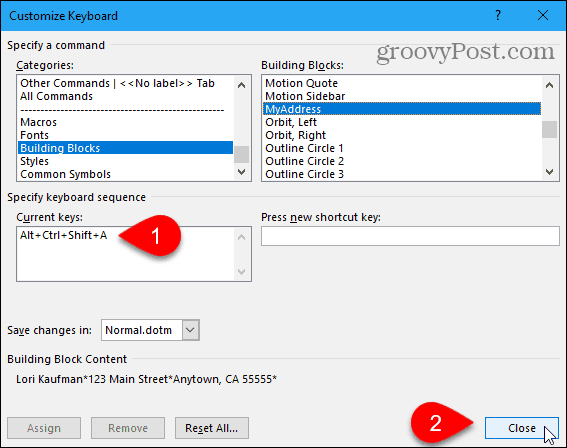 Close Customize Keyboard dialog box