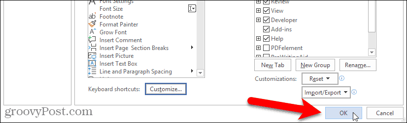 Close Word Options dialog box