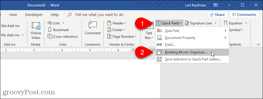 Select Building Blocks Organizer to delete an AutoText entry