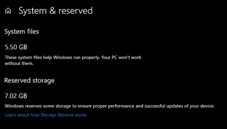 Reserved Storage 1903 Settings