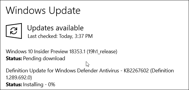 Windows 10 19H1 Build 18353