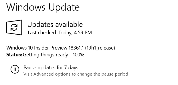 Windows 10 19H1 Preview Build 18361