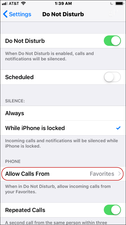 iPhone Favorites Do Not Disturb