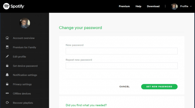 reset spotify password