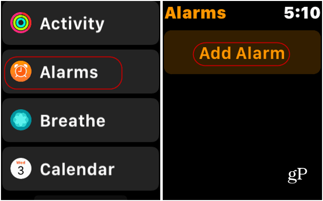 Alarms App Apple Watch