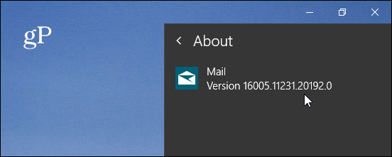 About Mail App Version