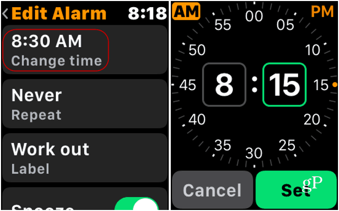 Change Alarm on Apple Watch