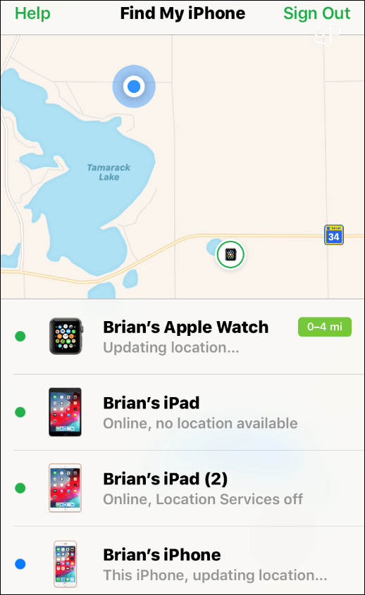 Find My iPhone Devices
