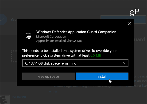 Install Windows Defender Application Guard Companion