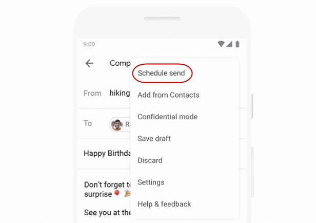 Schedule Send feature via Mobile