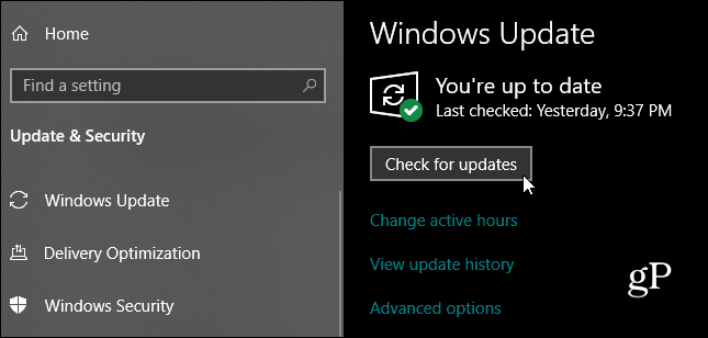 Windows 10 Check for Updates