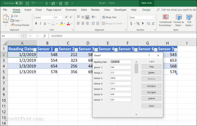 data entry form in Excel