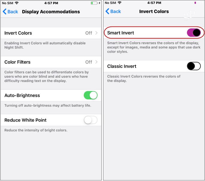 iOS Dark Mode Settings invert Colors